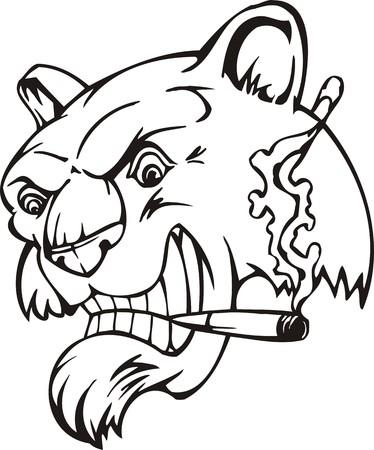 snarling: Tiger.Mascot Templates.Vector illustration ready for vinyl cutting.