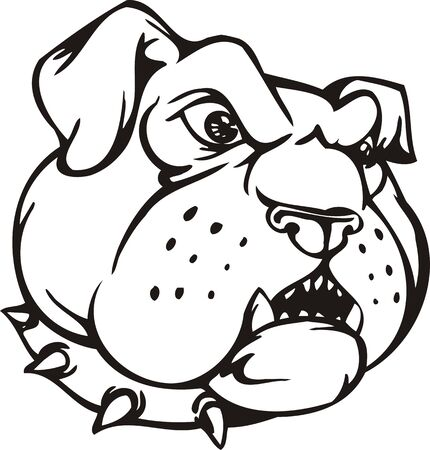 animal teeth: BulldogMascot Templates.Vector illustration ready for vinyl cutting.