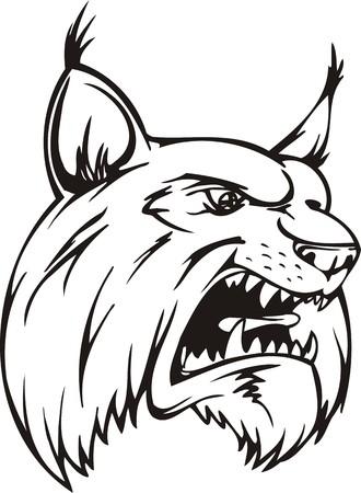 Lynx.Mascot Templates.Vector illustration ready for vinyl cutting. Vector Illustration