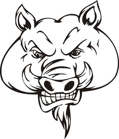 Wild boar.Mascot Templates.Vector illustration ready for vinyl cutting.