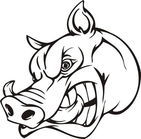 Wildschwein.Mascot Templates.Vector Illustration für Vinyl-Cuttings bereit.