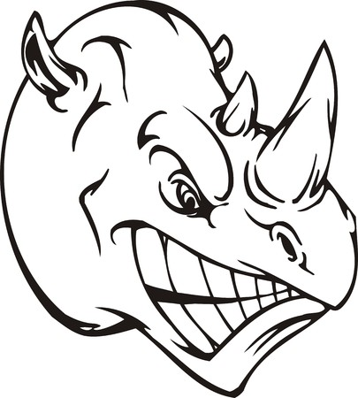 cheeks: Rhino.Mascot Templates.Vector illustration ready for vinyl cutting.