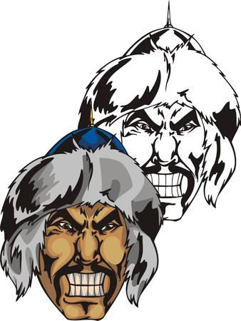 Head of the mongolian warrior in fur helmet. Mascot template. Vector illustration - color + bw versions. Illustration