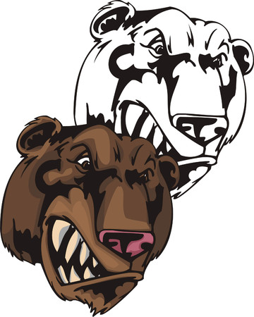 Wild bared grizzly bear with rose nose. Mascot template. Vector illustration - color + bw versions. Vector