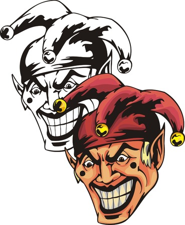 Buffoon with devilish facial expression in red mischievous hat with yellow ball. Mascot template. Vector illustration - color + bw versions. Vector