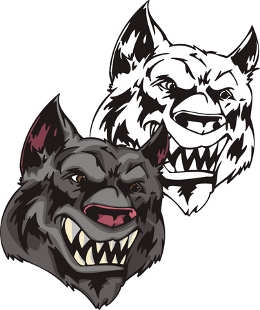 super dog: Adult wild gray wolf with sharp teeth. Mascot template. Vector illustration - color + bw versions. Illustration