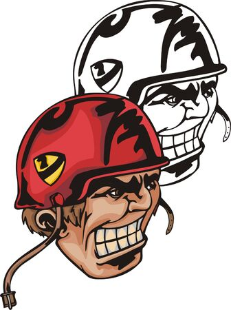 Athlete in red helmet playing in american football. Mascot template. Vector illustration - color + bw versions. Vector