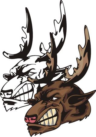 fragmentary: Representa grandes astas de ciervo salvaje de marr�n. Plantilla de la mascota. Ilustraci�n - color + en blanco y negro de los vectores versiones. Vectores