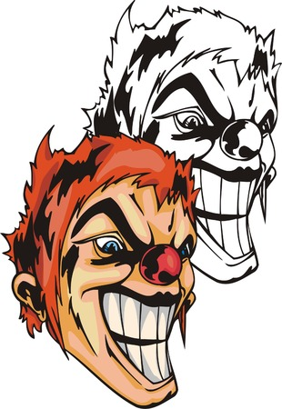 The clown with a wide bad smile, orange hair, a round red nose and a dangerous look. Mascot template. Vector illustration - color + bw versions. Illustration