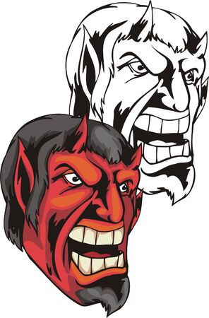 Devil with red person and opened mouth. Mascot template. Vector illustration - color + bw versions.