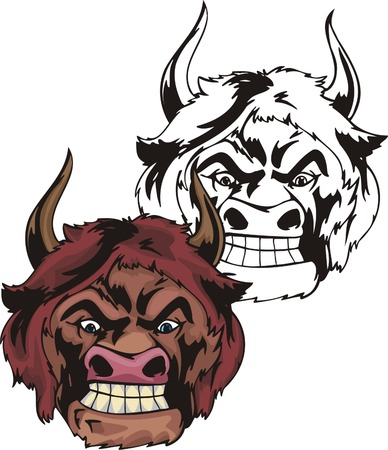 The person-bull with crooked horn and red hair looks downwards. Mascot template. Vector illustration - color + bw versions.