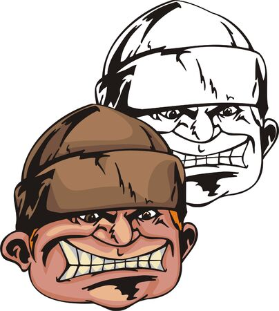 Cruel person in brown hat pulled over on brow. Mascot template. Vector illustration - color + bw versions. Illustration