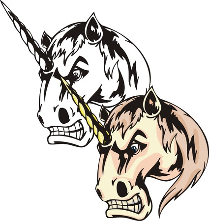 Fairy-tale irritated unicorn with winding yellow horn. Mascot template. Vector illustration - color + bw versions. Illustration