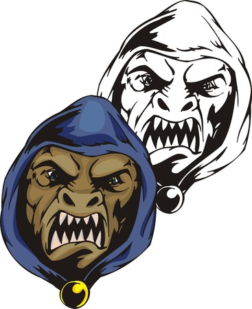 The dark open-mouthed monster with sharp teeth in a dark blue hood. Mascot template. Vector illustration - color + b/w versions.