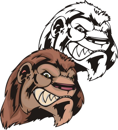 Wild lion with a red mane and ravenous smile. Mascot template. Vector illustration - color + bw versions. Illustration