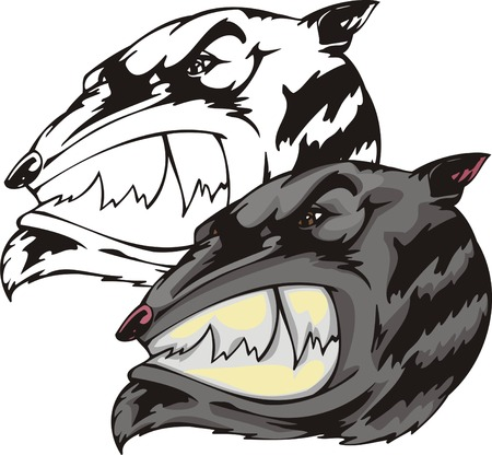 Spiteful gray animal with ravenous smile and rose nose. Mascot template. Vector illustration - color + bw versions.