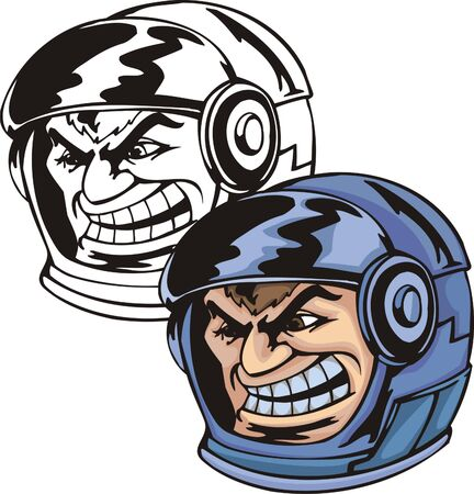Head of the cosmonaut in a dark blue space helmet. Mascot template. Vector illustration - color + bw versions. Illustration