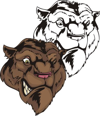 muscule: Wild brown king of the beasts with a pink nose. Mascot template. Vector illustration - color + bw versions.