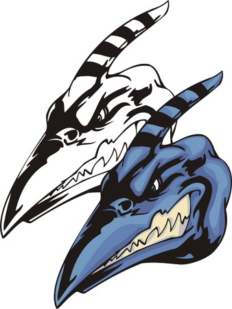 Head of a dinosaur pterodactyl with a long beak and striped horn. Mascot template. Vector illustration - color + bw versions. Illustration