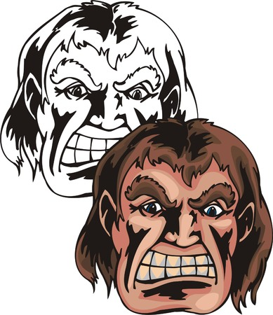 Angry strong man with thick brow and brown hair. Mascot template. Vector illustration - color + bw versions.