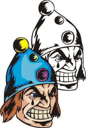ridicolo: Il clown piangente in un ridicolo cappello con pulsante ritraevano. Modello di mascotte. Vector illustration - colore + bn versioni. Vettoriali