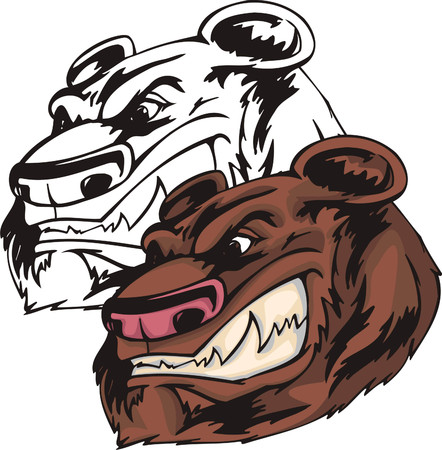 Enormous brown bear with rose nose and ravenous smile. Mascot template. Vector illustration - color + bw versions.