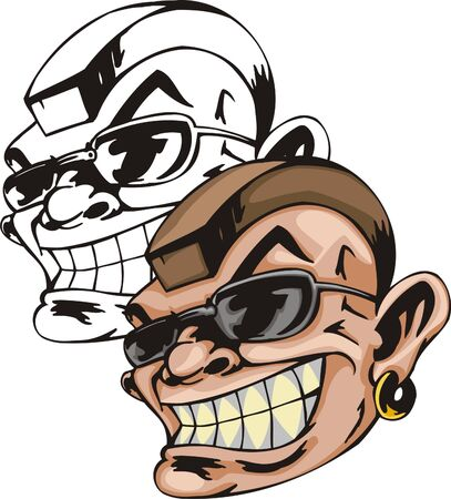 The steep person in black glasses and yellow ring in an ear. Mascot template. Vector illustration - color + bw versions.
