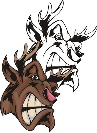 fragmentary: Whith peque�as astas de ciervo salvaje de descontentos marr�n. Plantilla de la mascota. Ilustraci�n - color + en blanco y negro de los vectores versiones.