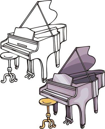 logo rock: Violet grand piano. Instruments de musique. Vector illustration - couleur noir et blanc versions. Illustration