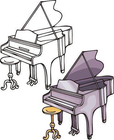 Violet grand piano. Musical instruments. Vector illustration - color   b/w versions. Stock Vector - 8618569