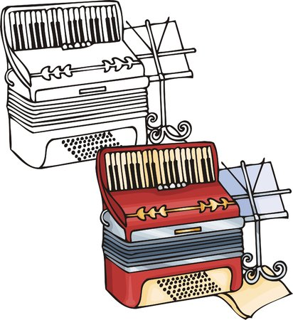 Red accordion. Musical instruments. Vector illustration - color   bw versions. Vector