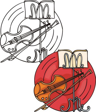 Orange violin and long bow. Musical instruments. Vector illustration - color   b/w versions. Stock Vector - 8618632