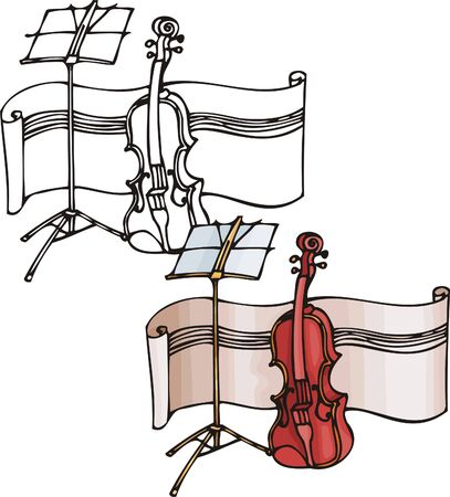 Red violin. Musical instruments. Vector illustration - color   bw versions. Vector