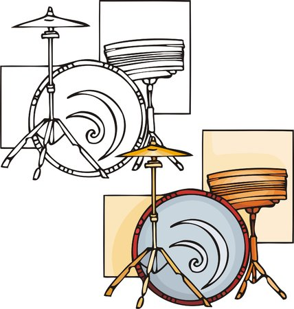 Red drum. Musical instruments. Vector illustration - color   b/w versions. Stock Vector - 8618634