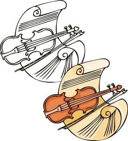 Brown violin with a bow. Musical instruments. Vector illustration - color   bw versions. Vector