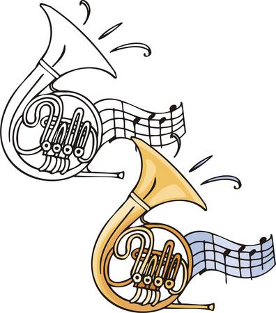 Yellow trombone. Musical instruments. Vector illustration - color   bw versions. Vector