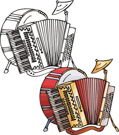 red drum: Accordion and red drum. Musical instruments. Vector illustration - color   bw versions. Illustration