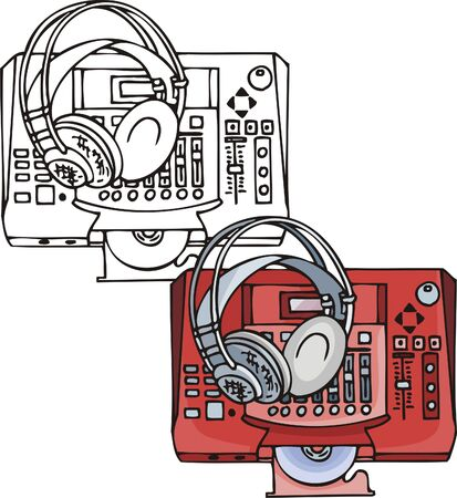 Blue ear-phones. Musical instruments. Vector illustration - color   bw versions. Vector
