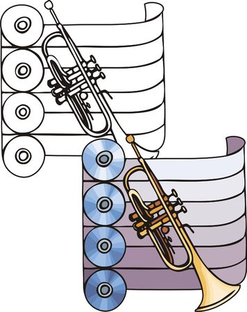 Orange pipe and four disks. Musical instruments. Vector illustration - color   bw versions. Vector
