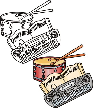 red drum: Grey synthesizer and red drum. Musical instruments. Vector illustration - color   bw versions.