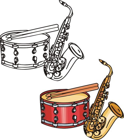 red drum: Orange pipe and red drum. Musical instruments. Vector illustration - color   bw versions.
