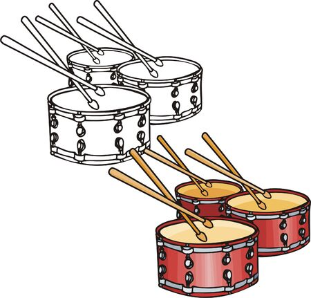 Three red drums. Musical instruments. Vector illustration - color   b/w versions. Stock Vector - 8624829