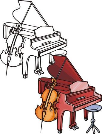 rock logo: Piano de cola roja y bayan madera. Instrumentos musicales. Ilustraci�n de vectores - versiones en blanco y negro de color. Vectores