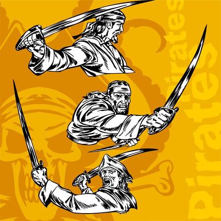 flint gun: Piratas. ilustraci�n.Listas para vinilo.