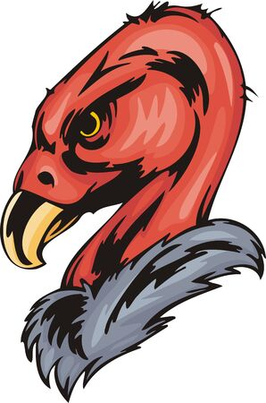 angry sky: Head of a griffin-scavenger with a sharp bill. Predatory birds. illustration - color   bw versions.