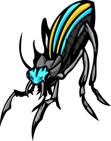 Beetles.Predatory Insects Clip art.  illustration ready for vinyl cutting. Illustration