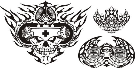 Skull in a crown and musical system. Racing compositions.   illustration ready for vinyl cutting. Vector