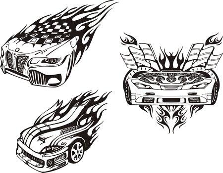 rock logo: El coche con banderas y dos sombreretes. Composiciones de carreras.  Ilustraci�n listo para corte de vinilo.