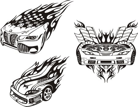 The car with flags and two cowls. Racing compositions.  illustration ready for vinyl cutting. Vector