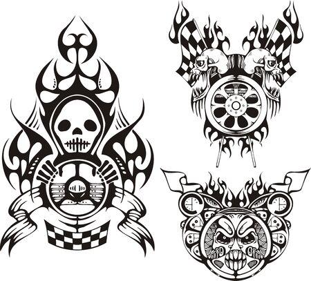 rock logo: S�mbolos con cr�neos. Composiciones de carreras.  Ilustraci�n listo para corte de vinilo.